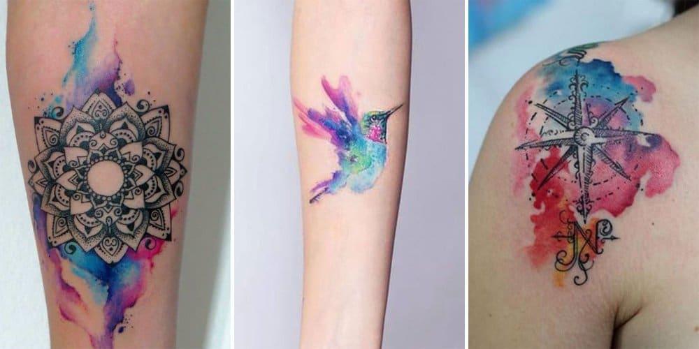 tatouage femme coloré aquarelle