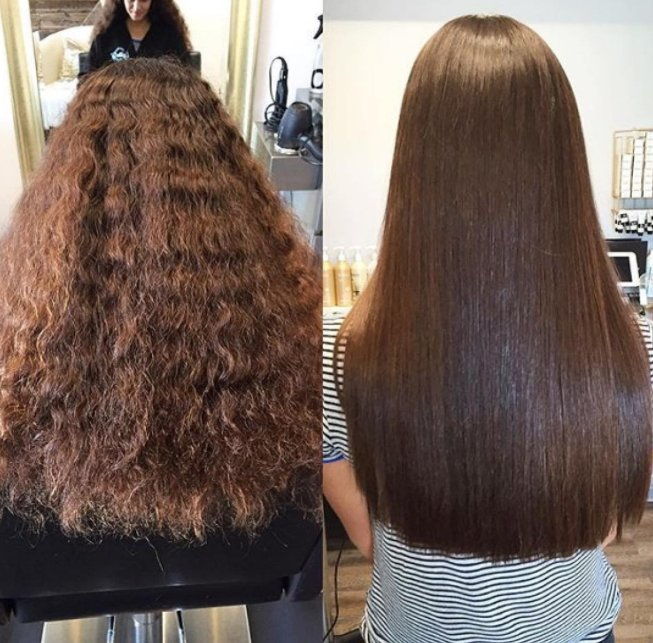 Lissage brésilien avant après cheveux bouclés 2