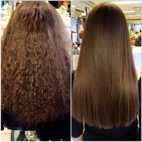 Lissage brésilien avant après cheveux bouclés