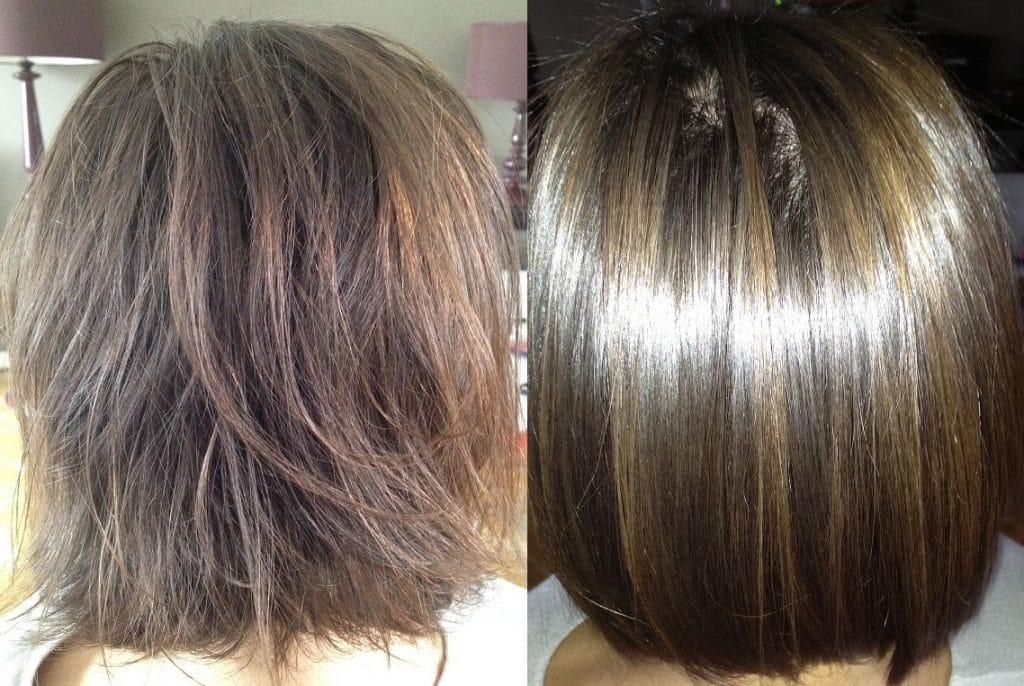 lissage brésilien avant apres cheveux courts