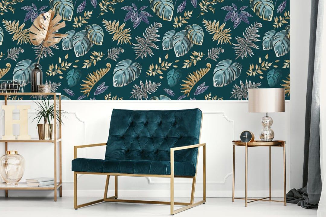 Salon - papier peint feuilles