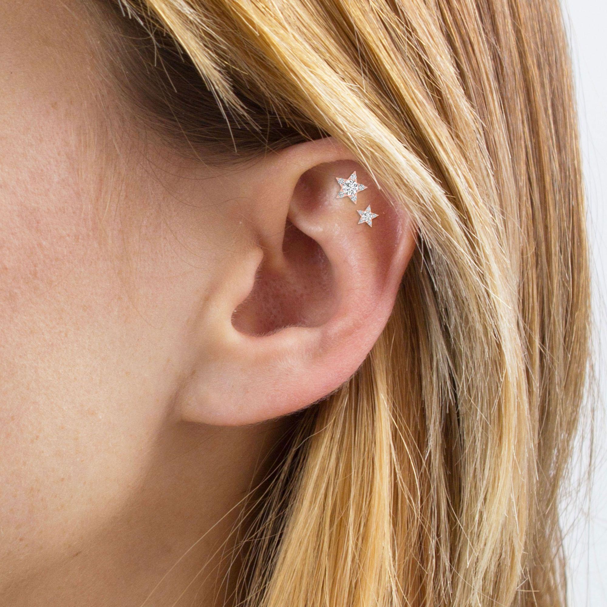piercing hélix en étoile