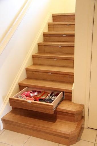 tiroirs dans les marches de vos escaliers