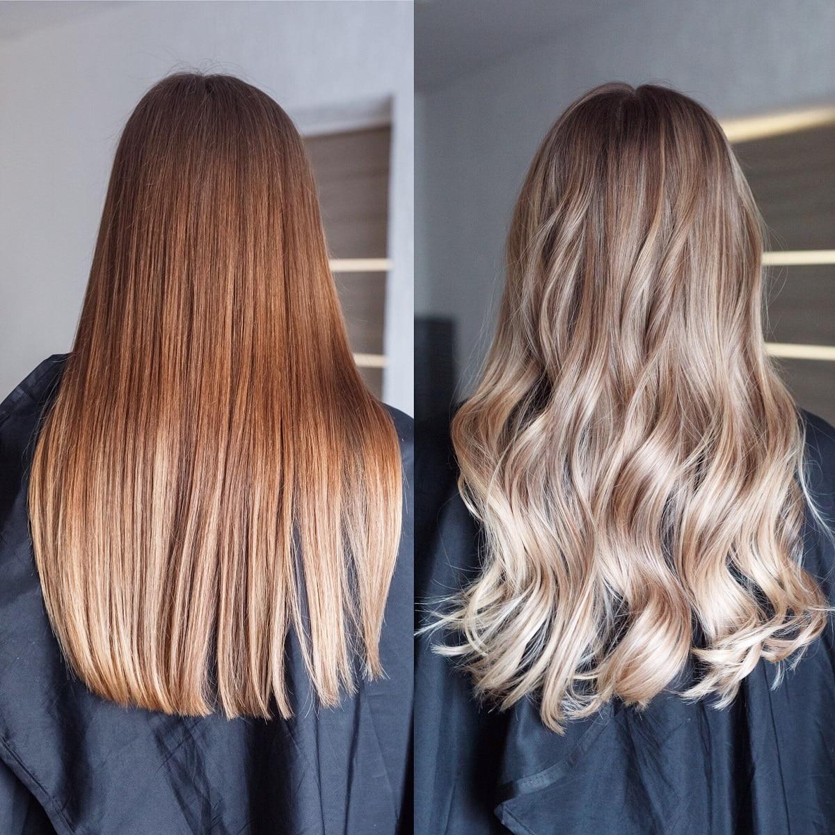 cheveux brun à blond avant après