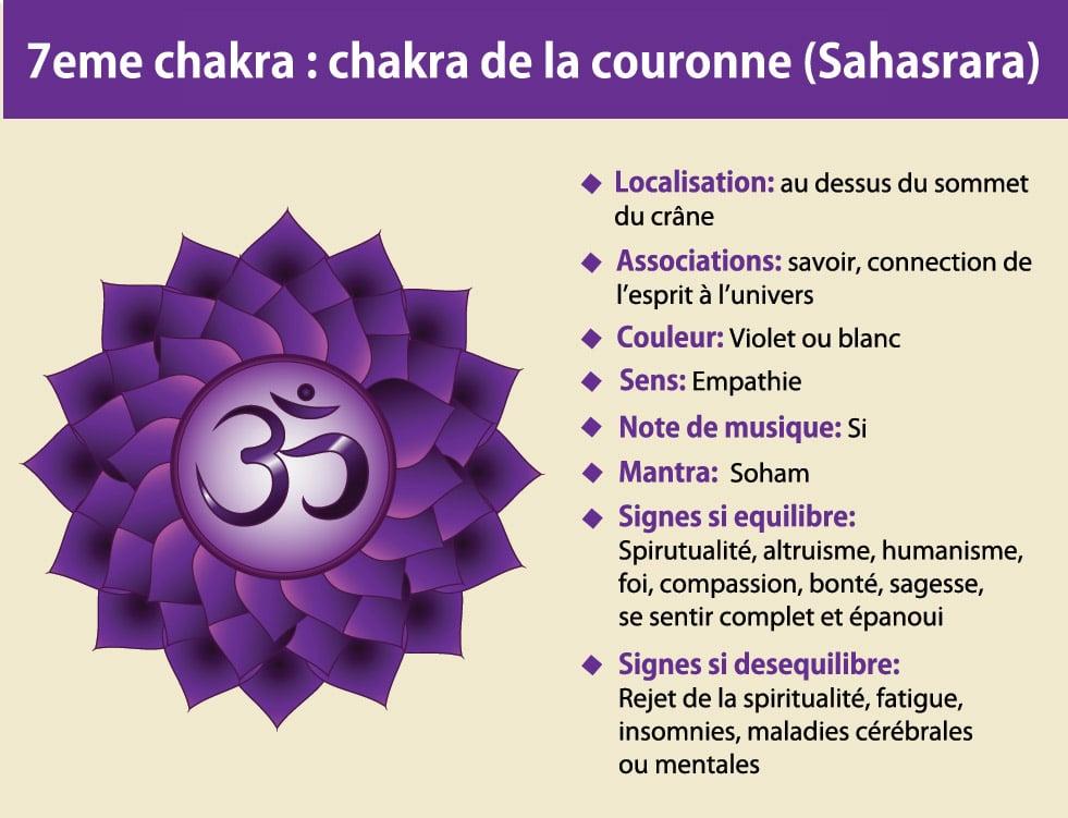 7ème chakra de la couronne ou coronal (Sahasrara)