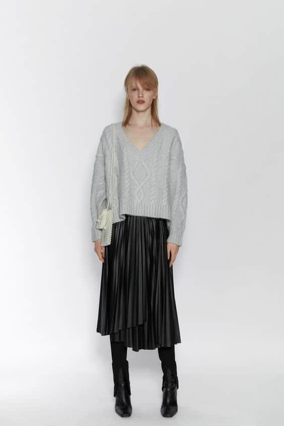 jupe cuir plissée